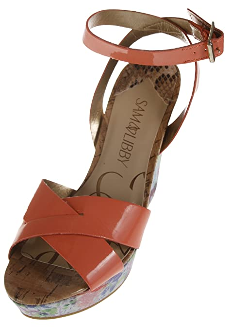 7268007b4f5b55 Sam   Libby Women s Kelly Wedge Sandal with Ankle Strap - Coral Floral (5.5  US