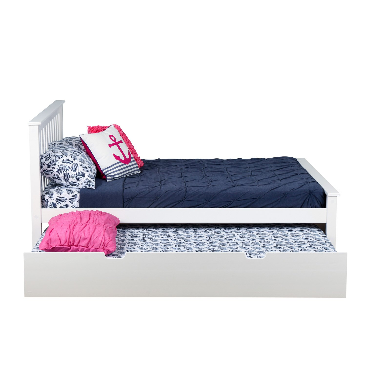 Amazon.com: Max & Lily Solid Wood Full-Size Bed with Trundle Bed ...