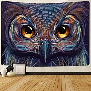 FEASRT Psychedelic Animal Tapestry Colorful Owl Tapestries Wall Hanging Decor for Home Bedroom Living Room Dorm Apartment Office Decorations 80x60 Inches GTQQAY99