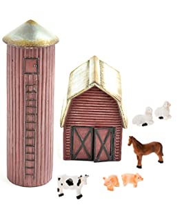DIY - Miniature Garden Kit - Farm Set with Barn, Silo and 6 Piece Mini Farm Animals for Gnome, Troll or Fairy Garden