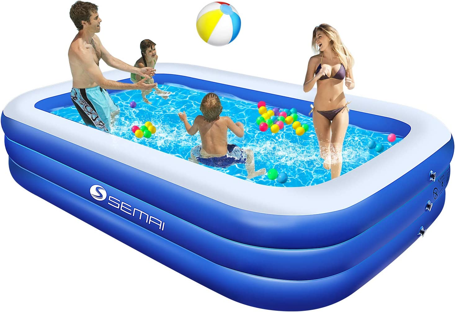 Family Inflatable Swimming Pool Semai 118 X72 X20 Full Sized Inflatable Lounge Pool For Kiddie Kids Adults Toddlers For Ages 3 Swimming Pool For Backyard Outdoor Blue White Amazon Ca Home Kitchen