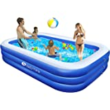 """semai Family Inflatable Swimming Pool, 118""""x72""""x20"""" Full-Sized Inflatable Lounge Pool for Kiddie, Kids, Adults, Toddlers for Ages 3+,Swimming Pool for Backyard,Outdoor (Blue+White)"""