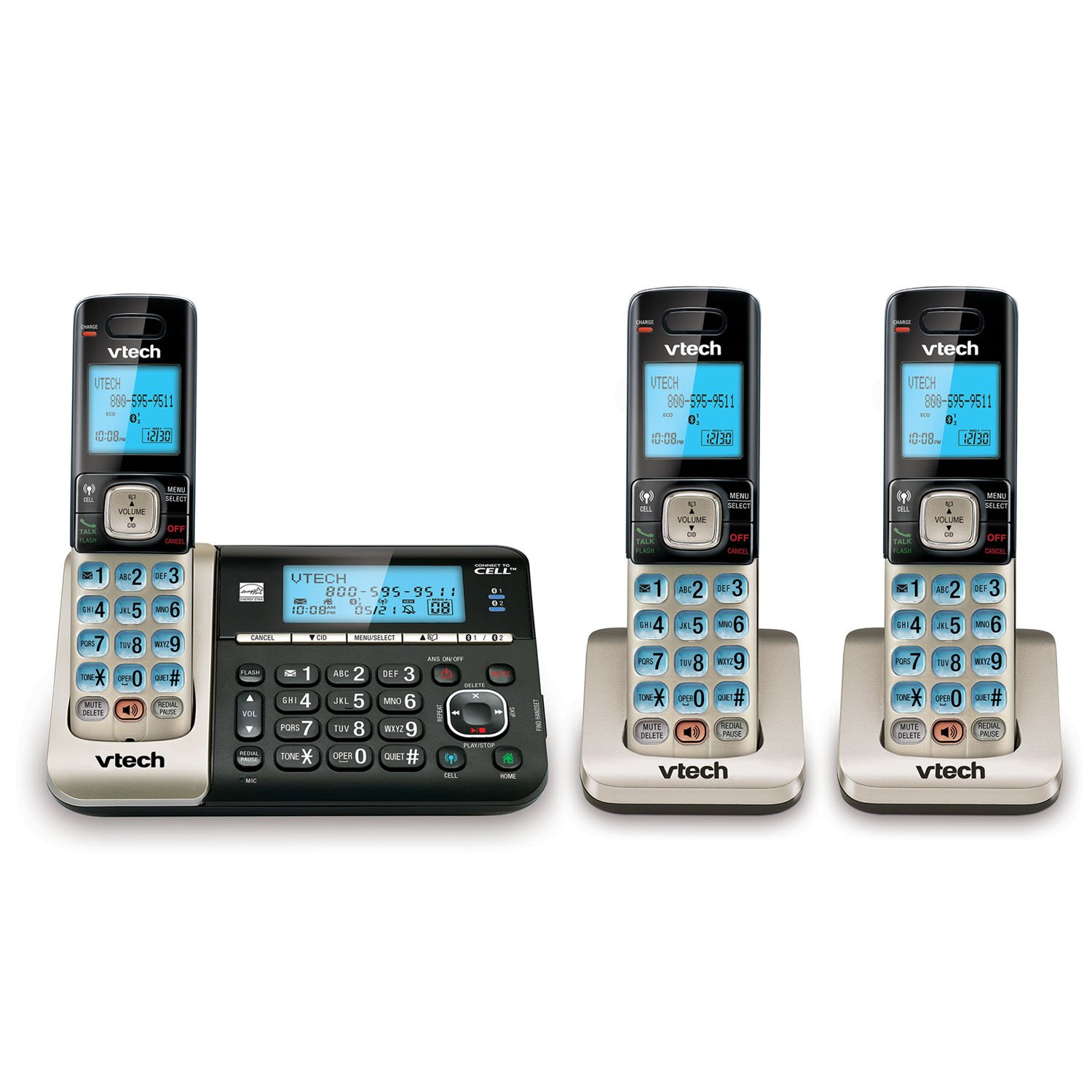 VTech DS6751-3 3-Handset DECT 6.0 Cordless Phone with Bluetooth Connect to Cell, Digital Answering System and Caller ID, Expandable up to 5 Handsets, Wall-Mountable, Silver/Black