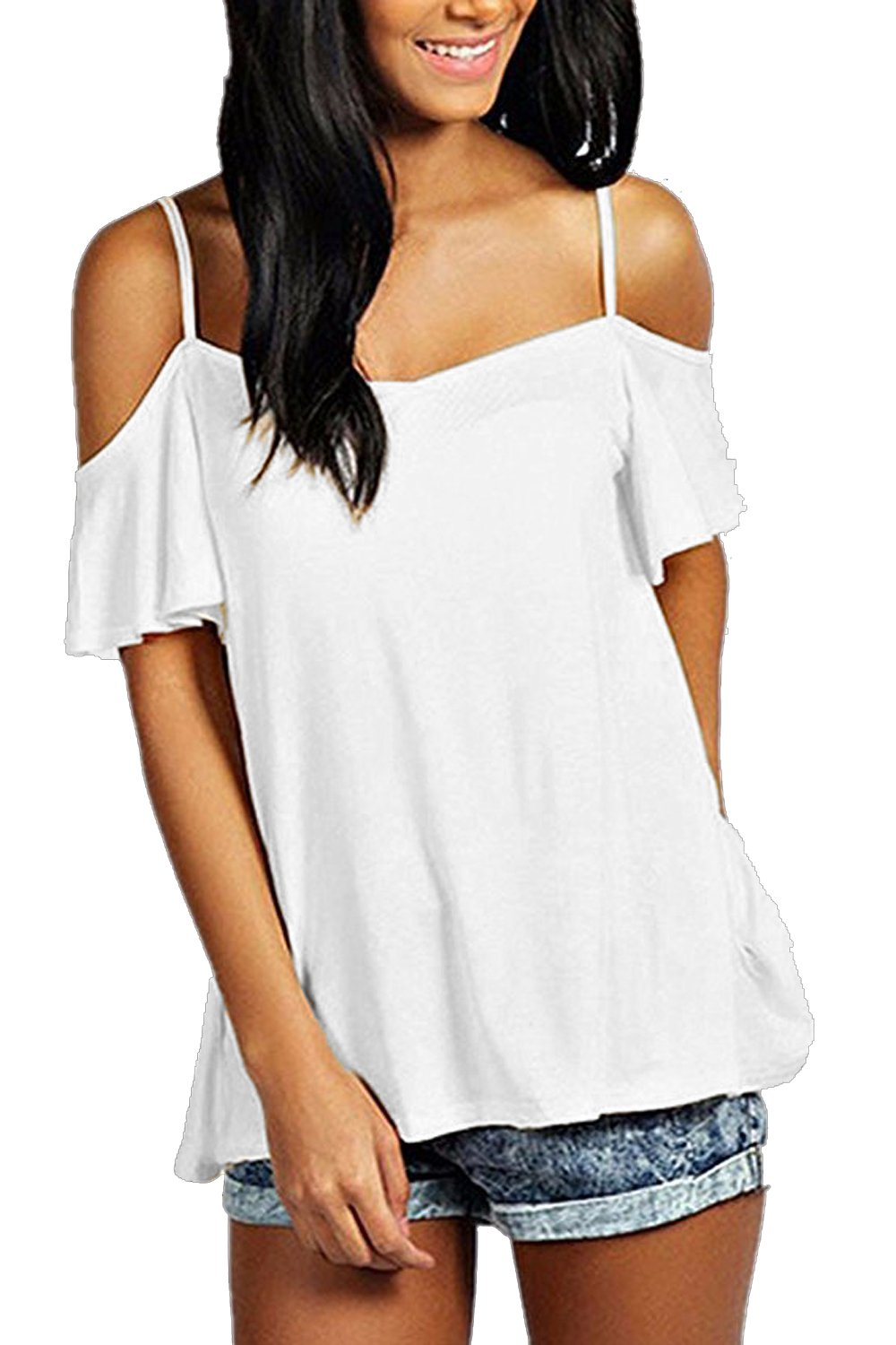 FISOUL Women's Off Shoulder Top Ruffle Sleeve Spaghetti Strap Halter Tops, White, Medium