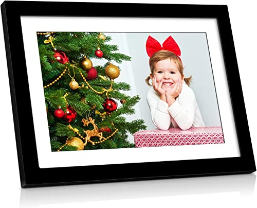 MRQ WiFi HD Digital Photo Frame with Touch 10.1 Inch Screen, Support Email, Cellphone App iOS and Android , Digital Picture Frame 16GB Internal Storage Included Support USB Flash Drive and SD Card