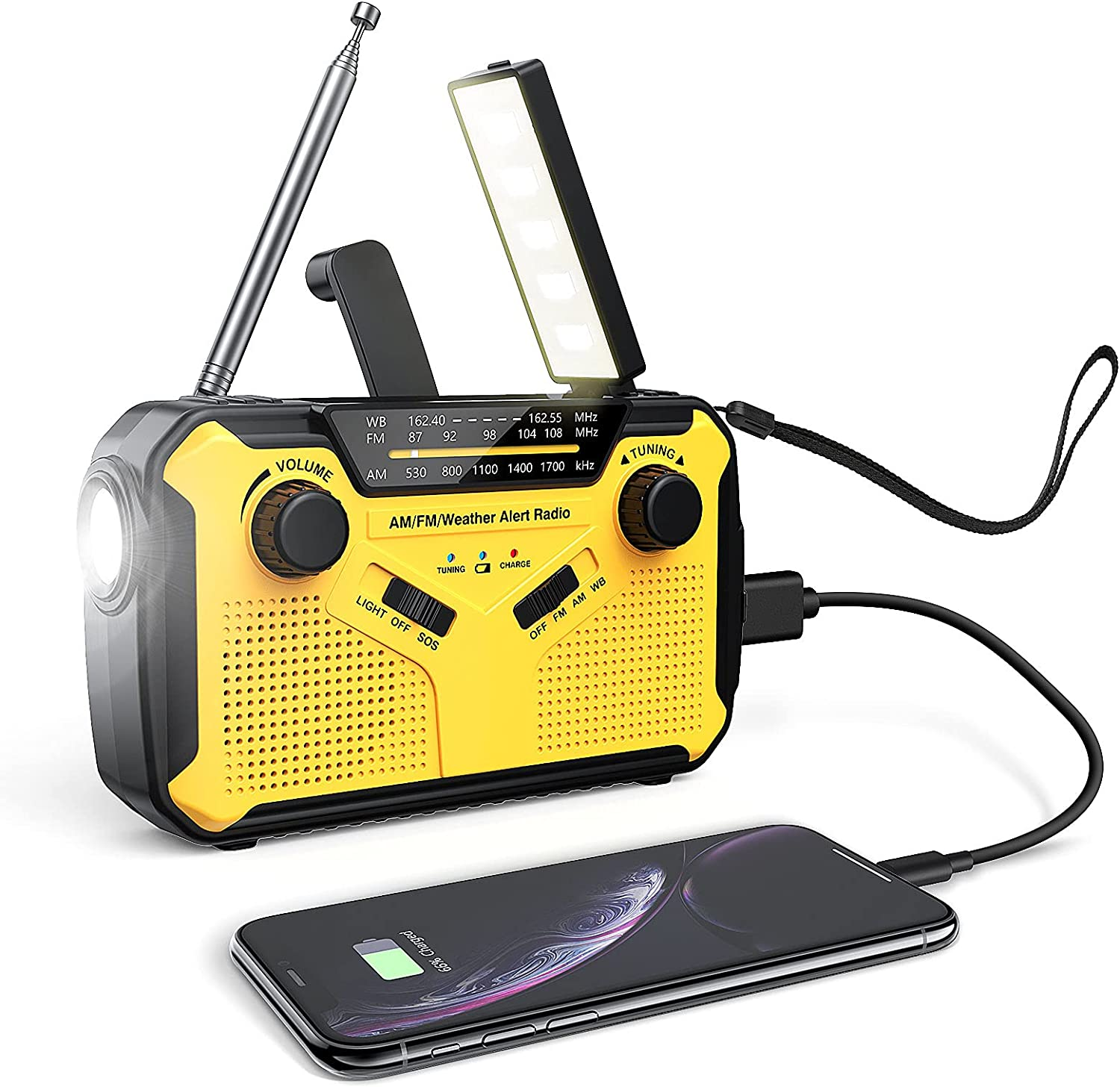 Emergency Radio,Solar Hand Crank Radio with LED Flashlight,Reading Lamp,Portable AM/FM/WB Weather Radio with 3000mAh Power Bank USB Charger and SOS Alarm for Home,Camping,Survival, Household,Outdoor