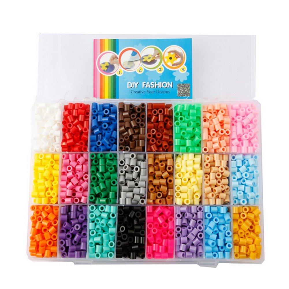 Children DIY Toys Midi Fuse Beads Size 5mm 4800PCS 24 Color Plastic Box with 2PCS Ironing Paper