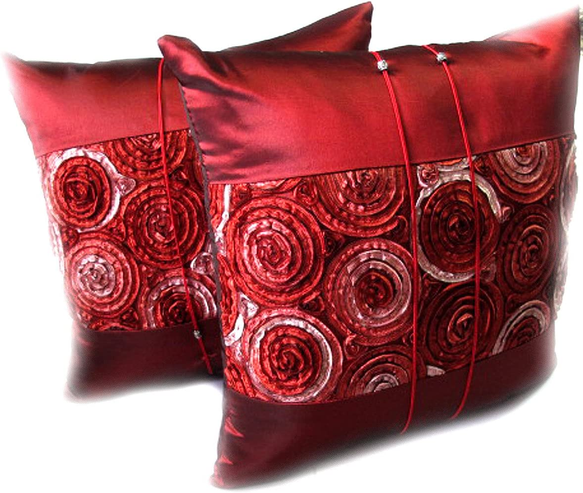 2 LOVELY Two Tone Throw Cushion Cover Pillow Sham Handmade Size 16 X 16 Inches Silk and Thai Satin for Decorative Sofa, Car and Living Room