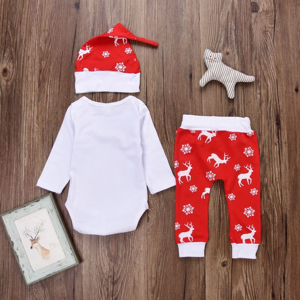 M/ütze Weihnachtskost/üm Weihnachts Kleidung Set Outfits OHQ Weihnachten Bekleidung Set Baby Unisex Bekleidungsset mit Aufdruck 3TLG Warm Fleece Top Pullover Weihnachten Hose