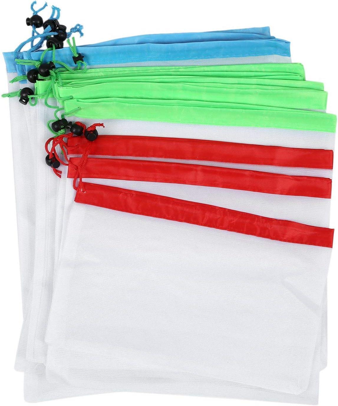 Cikuso 12 Piezas Reutilizable Bolsas de Productos de Malla Lavable Eco Bolsos Amistosos para El Almacenamiento de Compras de Comestibles Juguetes Frutas Verduras