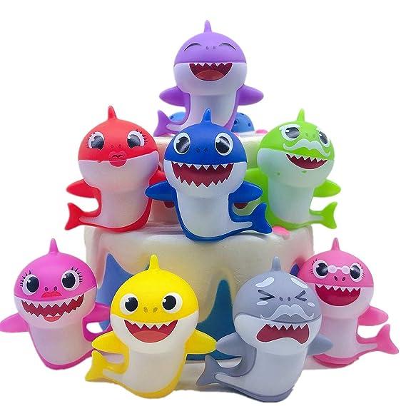 8 piezas Cute Shark Cupcake Toppers (8 colores), Shark Cake ...