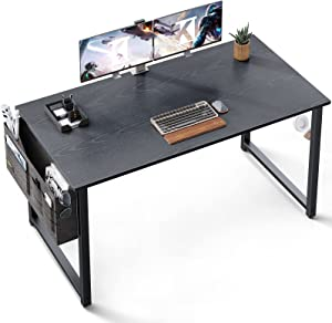 ODK Computer Writing Desk 47 inch, Sturdy Home Office Table, Work Desk with A Storage Bag and Headphone Hook, Espresso Gray