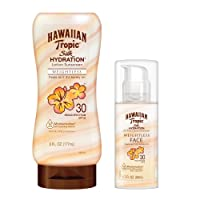 Hawaiian Tropic, SPF 30 Broad Spectrum Sunscreen, Silk Hydration Weightless Sunscreen Pack with 6oz Sunscreen Lotion and 1.7oz Sunscreen Face Lotion