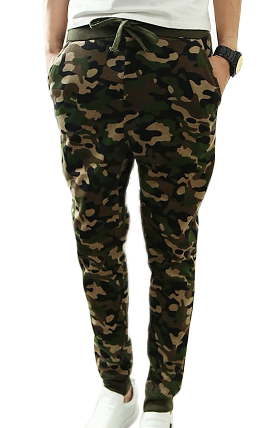 Panegy Men's Camouflage Color Drawstring Waist Jogging Harem Pants Army Green THANKSET