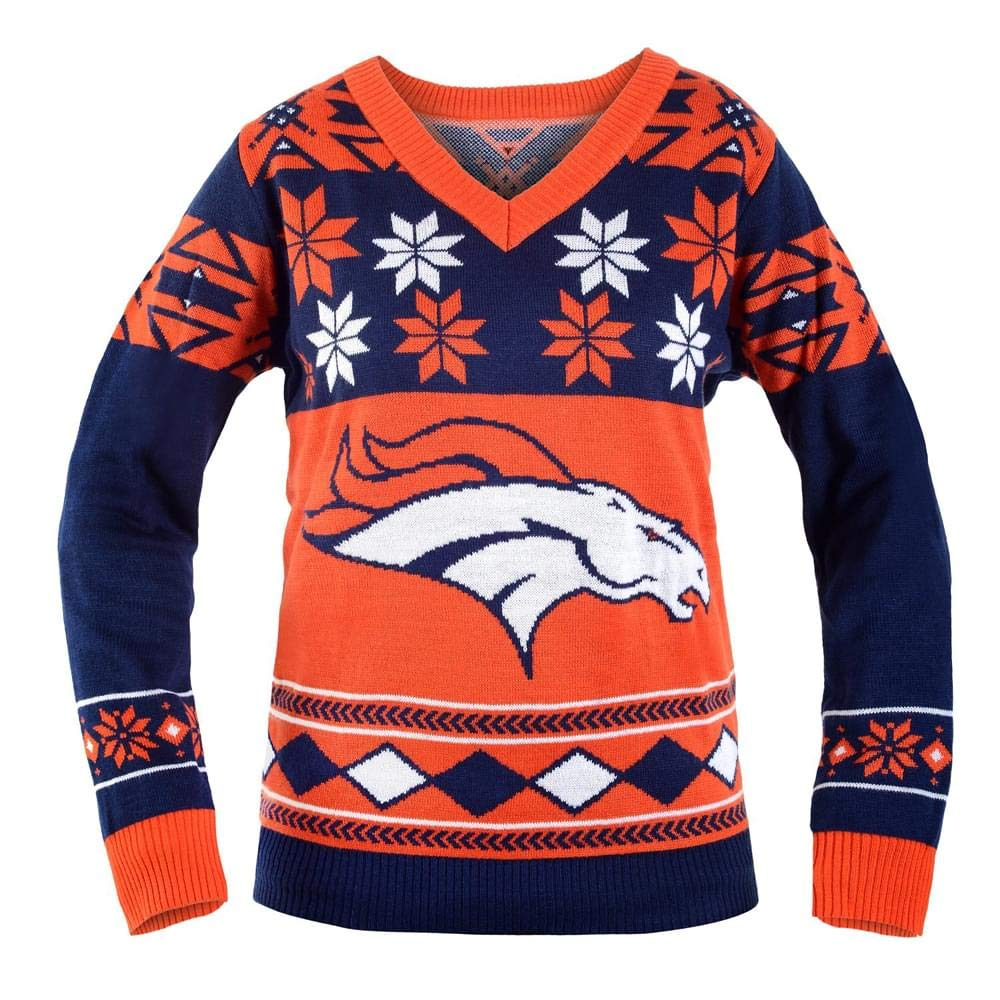 barato Small NFL NFL NFL Denver Broncos Wohombres Big Logo V-Neck Ugly Christmas Sweater Small  suministramos lo mejor