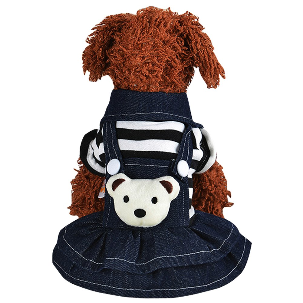 CHBORLESS Winter Warm Pet Hoodies Denim Jean Pet Clothing Striped 4 legs Jumpsuit & Dog Dresses (XL, Black-dress)