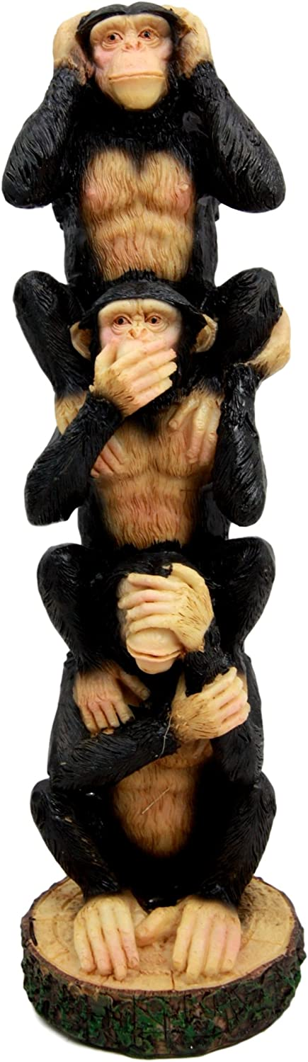 Ebros Gift Stacked See Hear Speak No Evil Monkeys Three Wise Apes of The Jungle Figurine 8.5