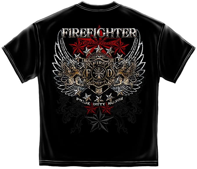 Erazor Bits Firefighter T-Shirt 100% Cotton Firefighter T Shirt Elite Breed Pride Duty Honor Silver Foil Firefighter Shirt