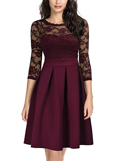 ea177ff90d176f Miusol Damen Elegant Cocktailkleid Spitzen 3/4 Arm Vintage Kleid  Brautjungfer 50er Jahr Abendkleid Weinrot