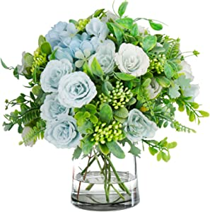 4 Bouquets Mini Artificial Peonies Flowers Silk Hydrangea with Fern Leaves Fake Plants for Table Centerpiece Flower Arrangements Wedding Decor (Blue)