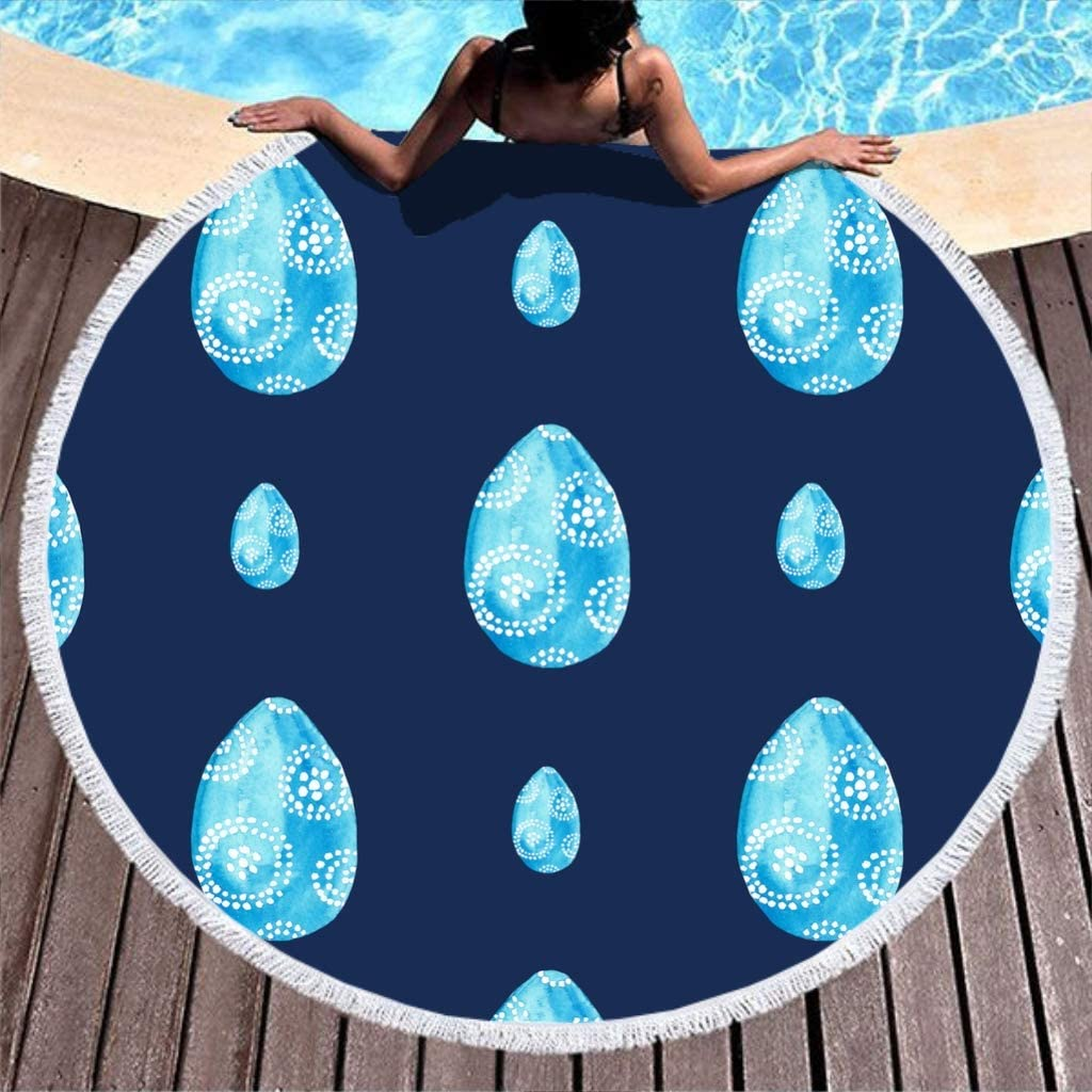 White HXshqian Round Sand Proof Easter Beach Towels Table Cloth Camping Mat 150cm