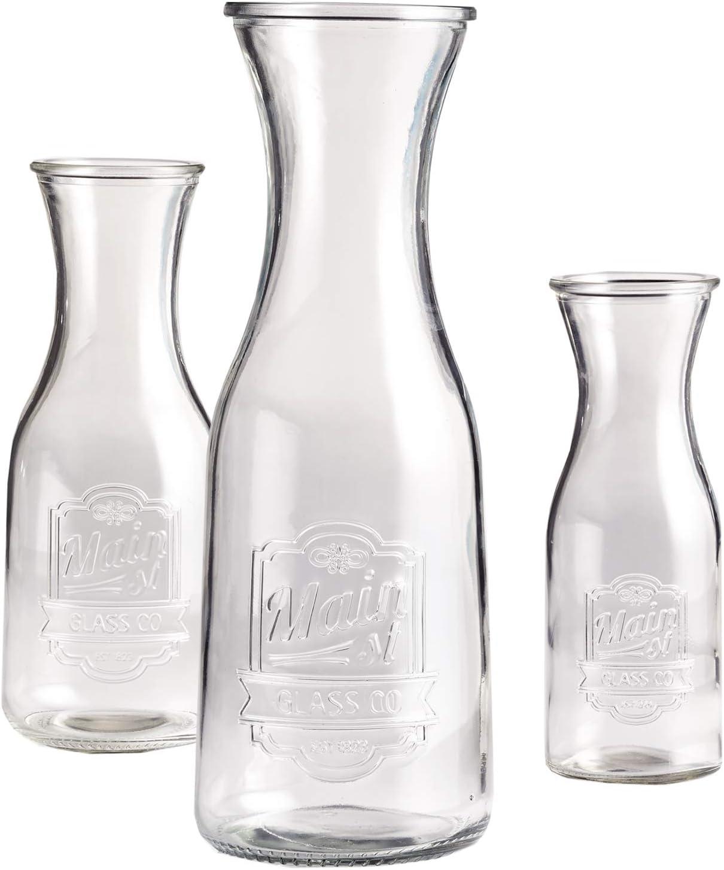 Style Setter Main Street Glass Milk Bottles, 3.7x10.6, Clear