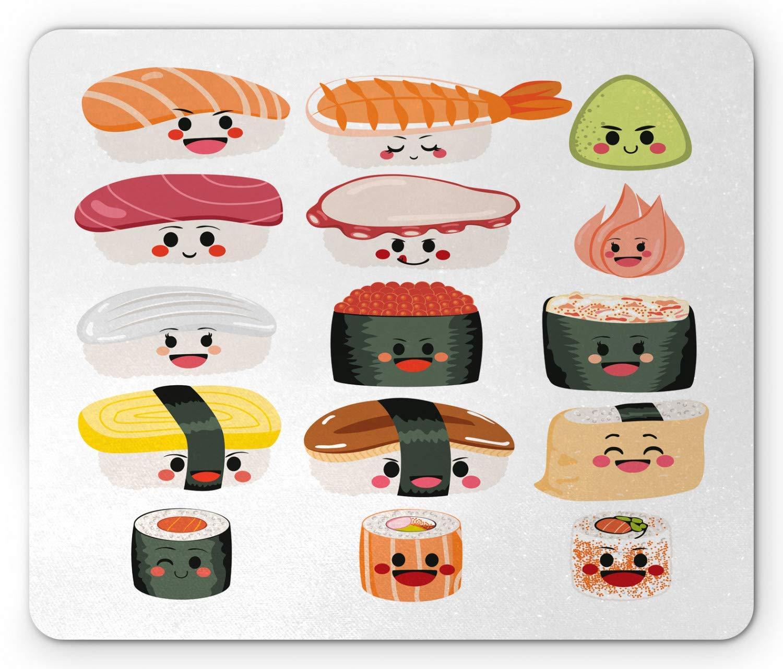 Cojín de ratón de Wasabi, personajes de sushi lindos ...