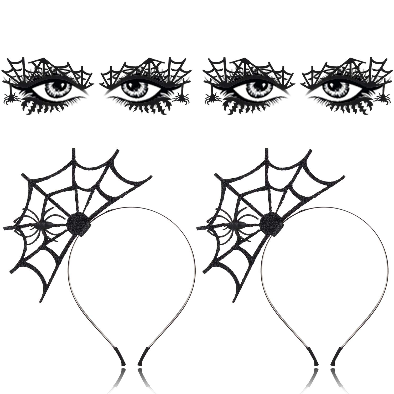 2PCS Halloween Spider Headband+ 2PCS Halloween Face Tattoo,Aniwon Black Spider Web Headband Party HeadbandHair Hoop with Spider Temporary Face Tattoo Transfer Eyeshadow Tattoo Sticker for Halloween
