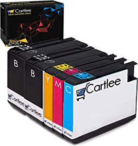 Cartlee Set of 5 Remanufactured 932xl 933xl High Yield Ink Cartridges for HP Officejet 6100, Officejet 6600, Officejet 6700 Officejet 7110 Officejet 7510 Officejet 7512 Officejet 7610 Officejet 7612