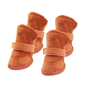 edf6912dfbe WeiMeet Dog Boots Durable Paw Protectors Anti-Slip Dog Shoes Small Medium  Dogs