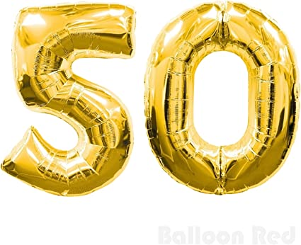 """Giant 50th Birthday Party 40/"""" Foil Balloon Helium Air Decoration Age 50 GOLD"""