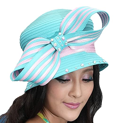 June s Young Elegant Ladies  Church Hat Kentucky Derby Hats (Light pink  with ... d58b0ac7ce0f