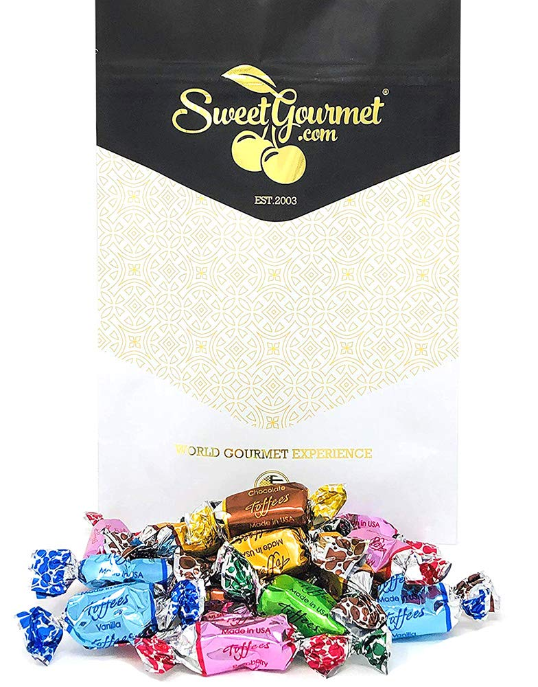 SweetGourmet Assorted Toffees | Bulk Chews Candy, Foil Wrapped | 1 Pound