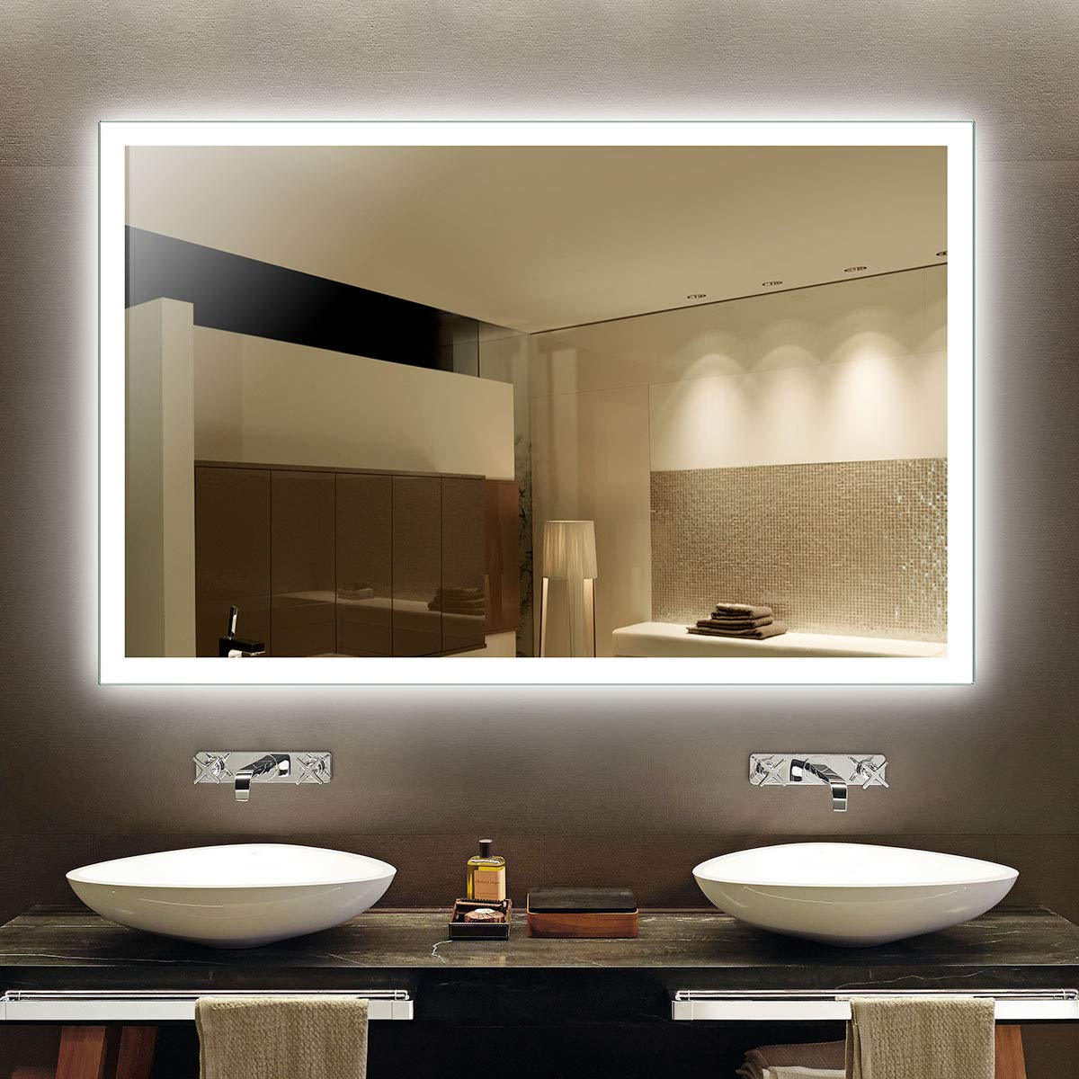 BHBL 55 x 36 in LED Lighted Rectangle Bathroom Mirror with Infrared Sensor Wall Mounted Makeup Vanity Lighted Vanity Mirror (DK-OD-N031-CG)