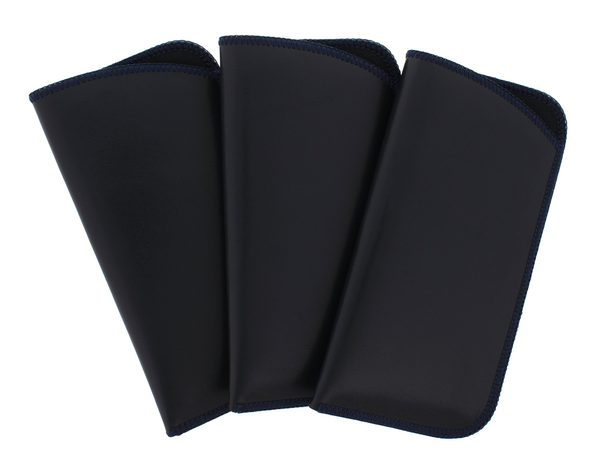 3 Pack Soft Faux Leather Slip In Eyeglass Case, Fits Medium to Large Frames, Navy by Ear Mitts