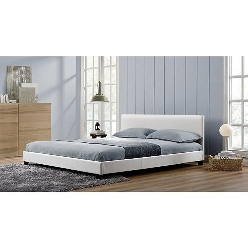 Mon Usine Discount L'Angelo Blanc : Cadre de lit en Simili Cuir Blanc 140x190cm