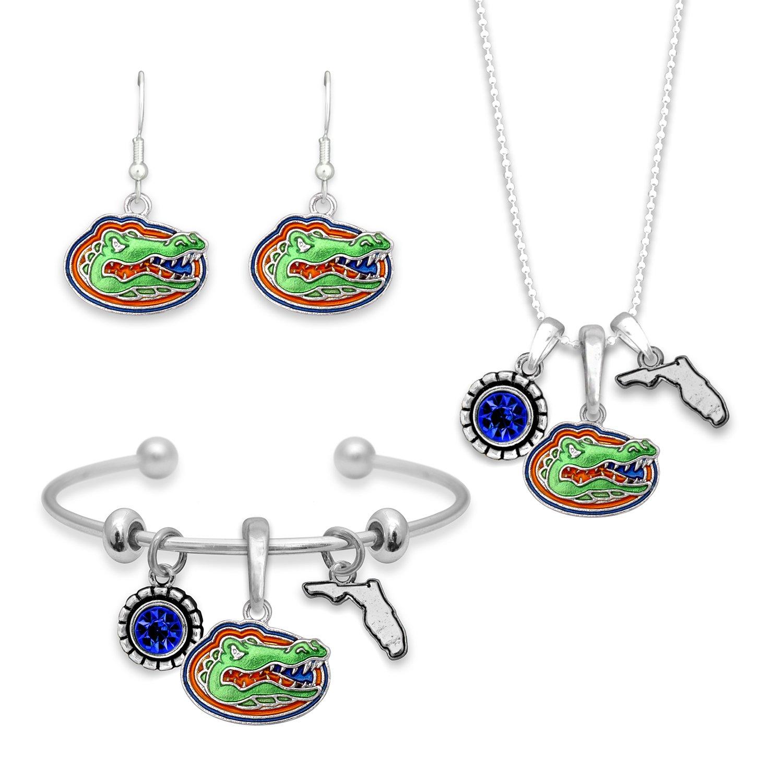 FTH Florida Gator Logo State Jewelry Combo Bracelet Necklace Earrings