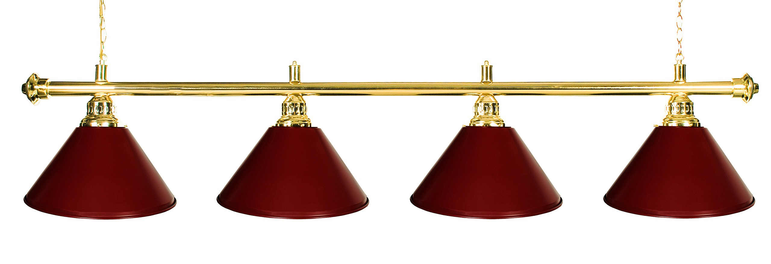 Iszy Billiards Metal Pool Table Light Billiard Lamp, Brass Rod with Burgundy Shades, 72-Inch