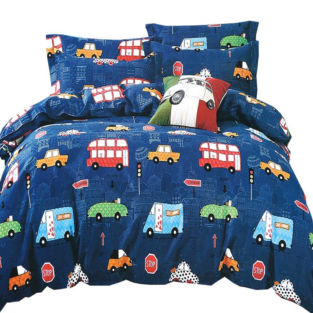 HyUkoa Boy's Room Duvet Cover Set US Twin Size, Hand Drawn Doodled Car Pattern Cartoonish Style Police Ambulance School Bus Car, Decorative 2 Piece Bedding Set(1pc Duvet Cover+1pc Pillowcase)