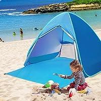 TopDirect Pop-up Strandzelt, Automatisches Strandmuschel mit Reißverschlusstür und UV Schutz 50+, Familien Portable Beach Zelt, Outdoor Tragbar Wurfzelt für 2-3 Personen, 165 x 150 x 110cm