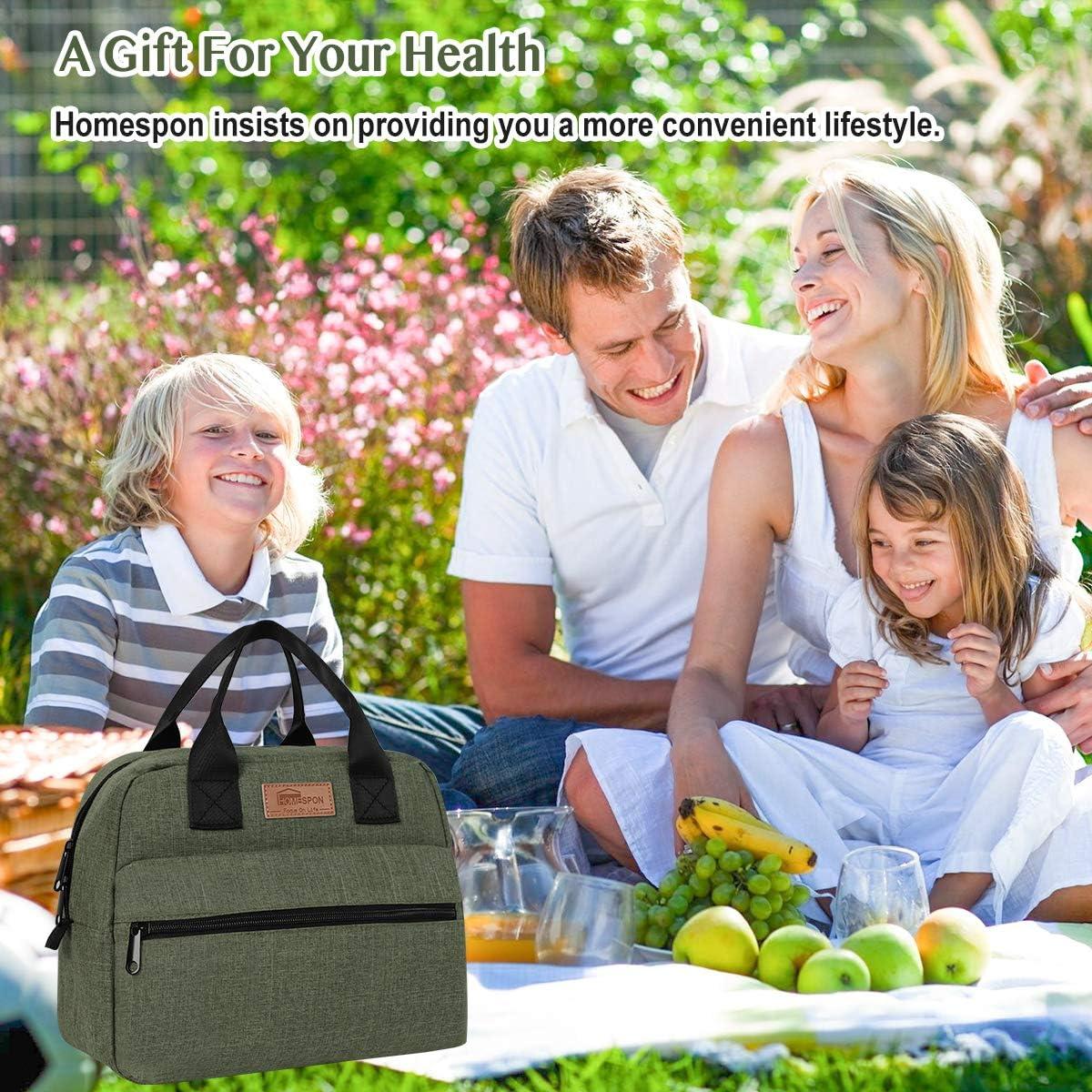 Adultos Estudiantes y Ni/ños HOMESPON Bolsa Isot/érmica de Almuerzo Lunch Bag Bolsa T/érmica Porta Alimentos Tela Impermeable Plegable Bolso de Picnic para Mujeres