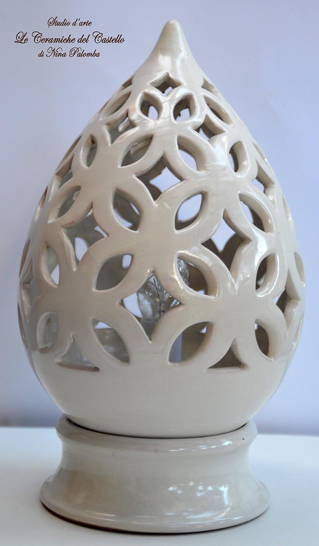 Lampada da tavolo comodino Traforata Bianca Handmade Le Ceramiche del Castello Made in Italy