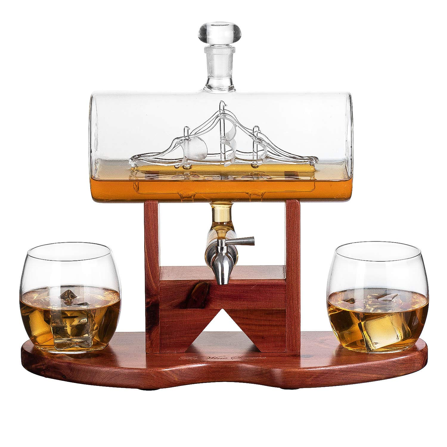 Whiskey Decanter Ship Set - With 2 Glasses and Beautiful Stand Gift for Dad, Husband or Boyfriend by The Wine Savant by The Wine Savant