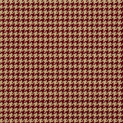 Port Beige and Burgundy Houndstooth Tapestry Upholstery Fabric by the yard (Fabric Houndstooth Upholstery)