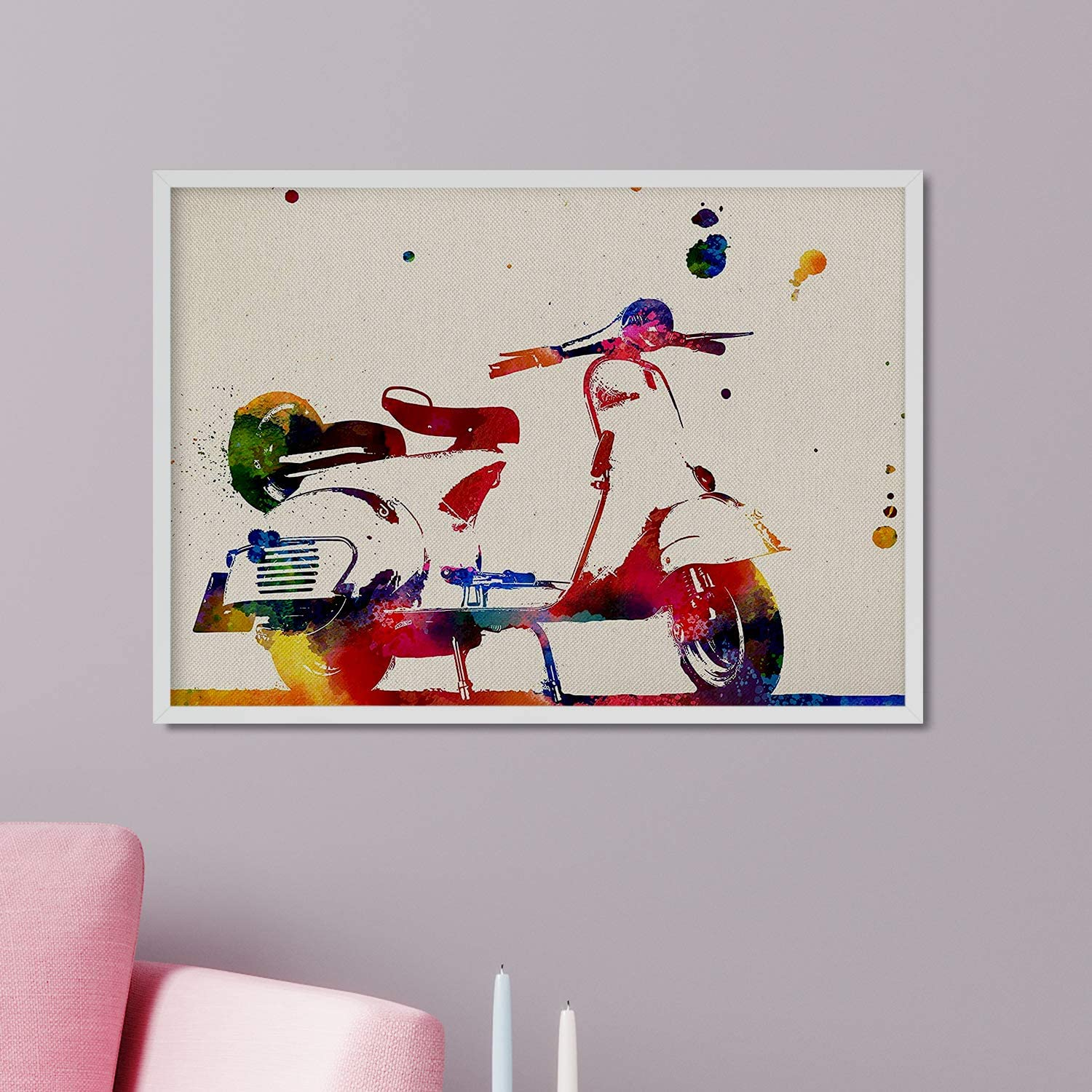 Nacnic Prints Vespa Scooted - Set of 1 - Unframed 8x11 inch Size - 250g Paper - Beautiful Poster Painting for Home Office Living Room