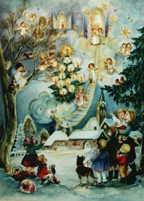 CHRISTMAS CALENDAR ADVENT CHERUBS DOOR COUNTDOWN GERMANY GLITTER  VILLAGE VERLAG