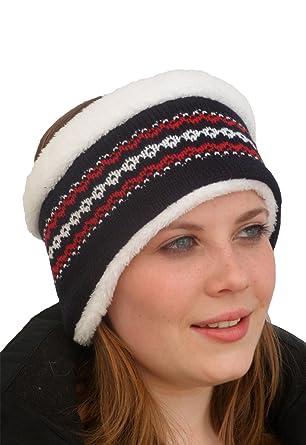 Unisex Luxury Fairisle Thermal Headband. Navy: Amazon.co.uk: Clothing