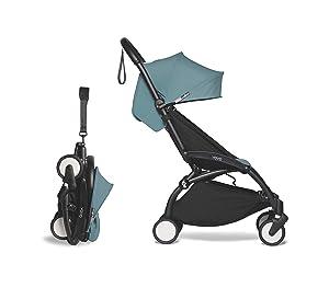 Babyzen YOYO2 Stroller - Black Frame with Aqua Seat & Canopy