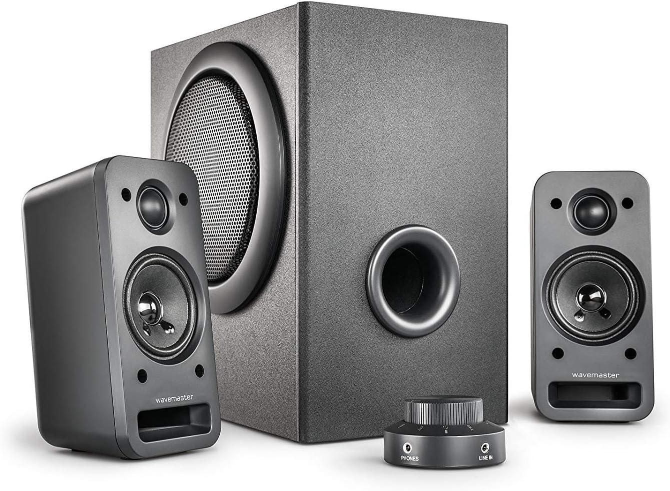 Wavemaster Mx3 2 1 Lautsprecher System 50 Watt Aktiv Boxen Für Tv Tablet Smartphone Pc Schwarz 66503 Audio Hifi