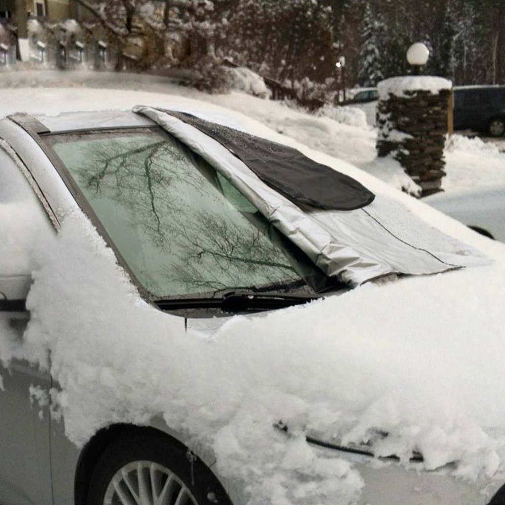 Fozela Car Windshield Snow Cover, Magnetic Windscreen Frost Ice Protector and Sun Shield Wind Proof in All Weather, Fit for Most Vehicle